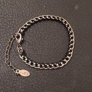 Aldo Silver Gun Metal Chain Link Ribbon Bracelet